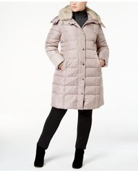 London Fog | Natural Plus Size Faux-fur-collar Down Coat | Lyst