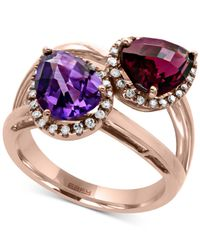Effy Collection - Multicolor Amethyst (1-3/4 Ct. T.w.) And Rhodolite Garnet (2 Ct. T.w.) Statement Ring In 14k Rose Gold - Lyst