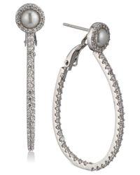 "Carolee - White Silver-tone Pavé & Imitation Pearl 3/4"" Drop Hoop Earrings - Lyst"