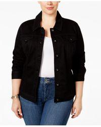 Style & Co. - Black Plus Size Denim Jacket, Mosaic Wash - Lyst