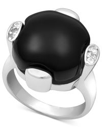 Macy's - Metallic Sterling Silver Ring, Onyx (13-14mm) And White Topaz (9/10 Ct. T.w.) - Lyst