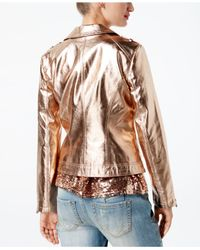 INC International Concepts - Metallic Faux-leather Moto Jacket - Lyst