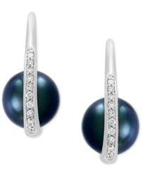 Effy Collection - Multicolor Cultured Black Tahitian Pearl (8mm) And Diamond (1/8 Ct. T.w.) Drop Earrings In 14k White Gold - Lyst