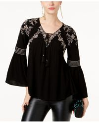 INC International Concepts | Black Embellished Peasant Top | Lyst