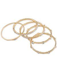 ABS By Allen Schwartz - Metallic Gold-tone 5-pc. Set Crystal Studded Bangle Bracelets - Lyst