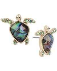 Betsey Johnson | Gold-tone Blue Crystal Turtle Stud Earrings | Lyst