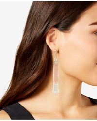 INC International Concepts - Pink Bead & Pavé Tassel Drop Earrings, Created For Macy's - Lyst