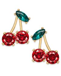 Kate Spade - Red 14k Gold-plated Crystal Cherry Stud Earrings - Lyst