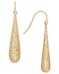 Macy's - Metallic Textured Elongated Teardrop Drop Earrings In 10k Gold - Lyst