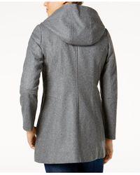 London Fog - Black Hooded Wool-blend Peacoat - Lyst