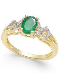 Macy's - Metallic Emerald (5/8 Ct. T.w.) And Diamond (1/8 Ct. T.w.) Ring In 14k Gold - Lyst