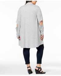 Love Scarlett - Gray Plus Size Cutout-elbow Open-front Cardigan - Lyst