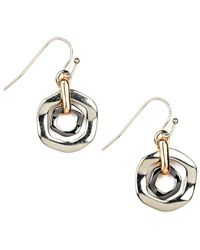 Nine West - Metallic Earrings, Tri Tone Orbital Fish Hook Earrings - Lyst
