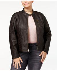 Levi's - Brown Plus Size Faux-leather Moto Jacket - Lyst