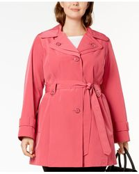 London Fog - Pink Plus Size Layered-collar Trench Coat - Lyst
