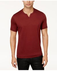 INC International Concepts | Red Men's Soft Touch Split-neck T-shirt for Men | Lyst