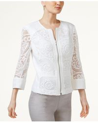 INC International Concepts - White Petite Crochet-lace Zip-up Blazer - Lyst