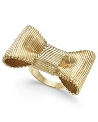 Kate Spade - Metallic Gold-tone Bow Statement Ring - Lyst