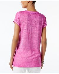 INC International Concepts - Pink Petite Cap-sleeve Washed T-shirt - Lyst