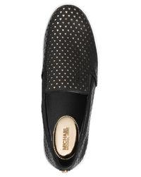 Michael Kors - Black Keaton Perforated Slip-on Sneakers - Lyst