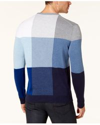 Alfani - Blue Men's Colorblocked Sweater for Men - Lyst