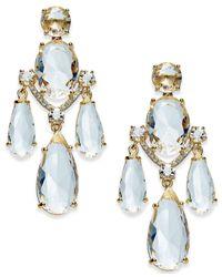 Kate Spade - Metallic Gold-tone Crystal Chandelier Earrings - Lyst