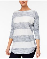 Style & Co. - Blue Petite Striped Space-dyed Top - Lyst
