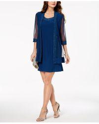 R & M Richards - Blue Embellished Dress & 3/4-sleeve Jacket - Lyst