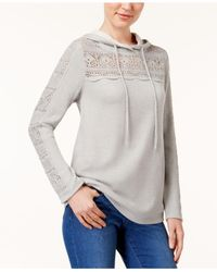 Style & Co. - Gray Crocheted Hoodie - Lyst