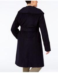 Jones New York - Brown Plus Size Asymmetrical Belted Coat - Lyst