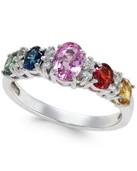 Macy's - Metallic Multi-sapphire (1-9/10 Ct. T.w.) And Diamond (1/8 Ct. T.w.) Ring In 14k White Gold - Lyst