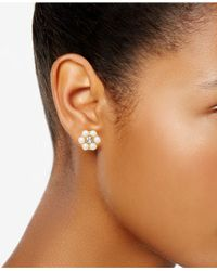 Charter Club - Metallic Gold-tone Crystal & Imitation Pearl Flower Stud Earrings, Created For Macy's - Lyst
