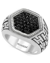 Effy Collection - Metallic Men's Black Sapphire Ring (1-1/4 Ct. T.w.) In Sterling Silver And Oxidized Silver for Men - Lyst