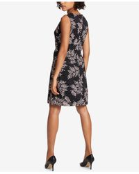 Tommy Hilfiger - Black Printed Burnout Sheath Dress - Lyst