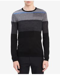 CALVIN KLEIN 205W39NYC - Black Men's Fancy Texture Stripe Sweater for Men - Lyst