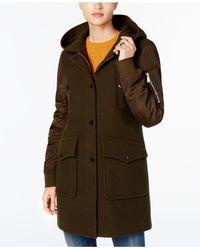 BCBGeneration - Green Faux-fur-trim Mixed-media Coat - Lyst