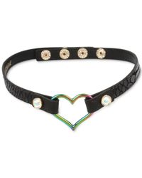 Betsey Johnson | Two-tone Open Heart Black Leather Choker Necklace | Lyst