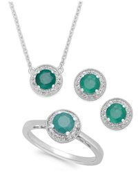 Macy's | Green Emerald (2 Ct. T.w.) And White Topaz (1/2 Ct. T.w.) Jewelry Set In Sterling Silver | Lyst