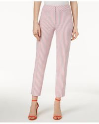 Nine West - Pink Seersucker Skinny Pants - Lyst