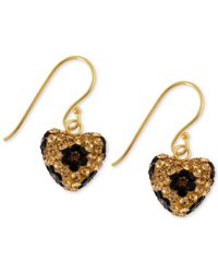 Betsey Johnson - Metallic Antique Gold-tone Crystal Leopard Heart Drop Earrings - Lyst