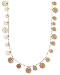 Nine West - Metallic Gold-tone Hammered Disc Strand Necklace - Lyst