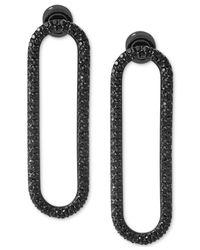 Michael Kors - Black Ion-plated Pavé Drop Hoop Earrings - Lyst