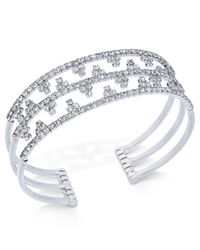 INC International Concepts - Metallic Concepts Silver-tone Openwork Pavé Cuff Bracelet - Lyst
