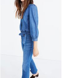 Madewell - Blue Denim Wrap Top - Lyst