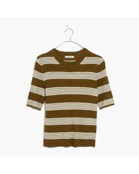 Madewell | Green Ribbed Sweater Top In Bennett Stripe | Lyst