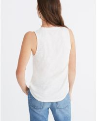 Madewell - Multicolor Embroidered Palm Whisper Cotton V-neck Pocket Tank - Lyst