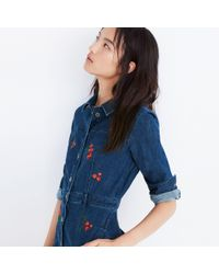 Madewell - Blue Embroidered Denim Dress - Lyst