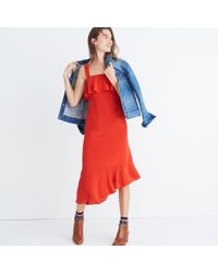 Madewell - Red Silk Ruffle Tank Dress - Lyst
