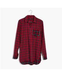 Madewell - Red Classic Ex-boyfriend Shirt In Plaid Patchwork - Lyst
