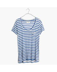 Madewell | Blue Anthem Short-sleeve Scoop Tee In Stripe | Lyst